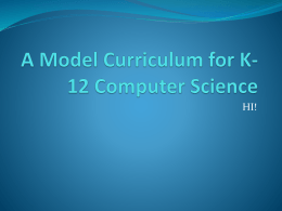 A Model Curriculum for K