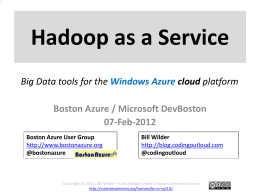 Hadoop Intro + Hadoop as a Service