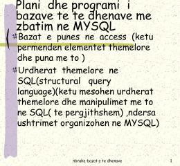 Plani dhe programi i bazave te te dhenave