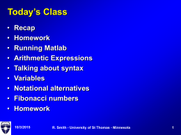 Today's Class - University of St. Thomas