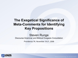 The Exegetical Significance of Meta