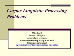 Corpus Linguistics and ESP