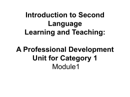 Introduction to Second Language Learning and Teaching: …