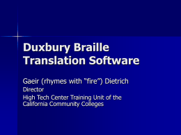 Duxbury Braille Translation Software