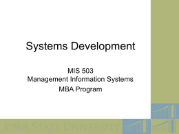 MIS 503 Systems Development