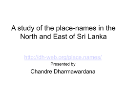 A study of the place-names in the North and East of Sri …