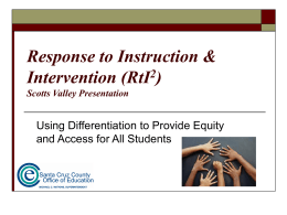 Response to Instruction & Intervention (RtI2)