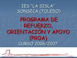 IES LA SISLA SONSECA (TOLEDO) PLAN DE APOYO A …