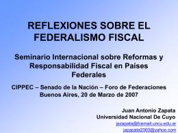 REFLEXIONES SOBRE EL FEDERALISMO FISCAL