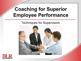 Coaching for Superior Employee Performance …