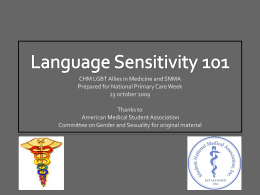 Language Sensivity 101 - American Medical Student …