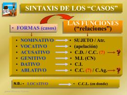 """SINTAXIS DE LOS """"CASOS"""": LAS FUNCIONES"""