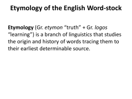 Etymology of the English Word-stock