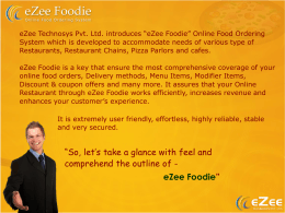 "eZee Technosys Pvt. Ltd. introduces ""eZee Foodie"" Online"