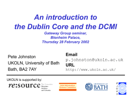 An introduction to Dublin Core and the DCMI