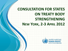 CONSULTATION FOR STATES ON TREATY BODY …