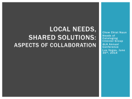 Local problems, shared solutions""