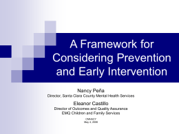 Prevention and Early Intervention: A Framework
