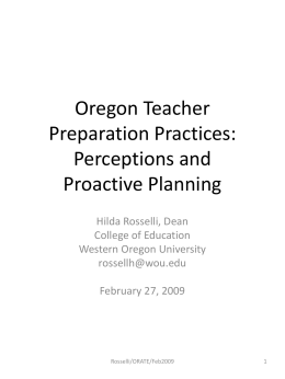 Oregon Teacher Preparation Practices: Perceptions and