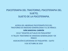 PSICOTERAPIA DEL TRASTORNO, PSICOTERAPIA DEL …