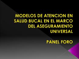 MODELOS DE ATENCION EN SALUD BUCAL EN EL MARCO …