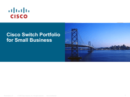 Cisco Small Business Switching Evolution Project Nikola