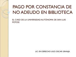PAGO POR CONSTANCIA DE NO ADEUDO EN BIBLIOTECA.