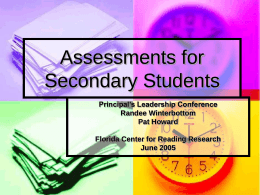 Assessing Secondary Students