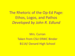 The Rhetoric of the Op-Ed Page: Ethos, Logos, and …
