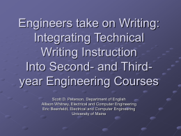 Engineers take on Writing: Integrating Technical Writing