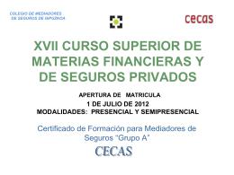 XIV CURSO SUPERIOR DE MATERIAS FINANCIERAS Y DE …