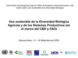 Uso sostenible de la diversidad biologica agricola