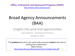 Broad Agency Announcements (BAA)