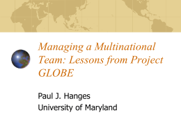 Managing a Multinational Team: Lessons from Project …