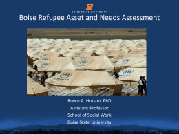 Interim Findings: Boise Refugee Asset and Needs …