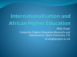 Internationalisation and African Higher Education