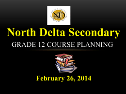 2014 NDSS Grade 12 Course Planning