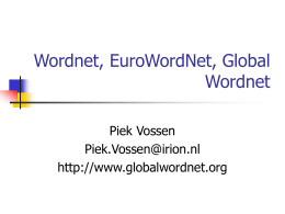 Geen diatitel - Home Page of Prof. Dr. Piek Th.J.M. Vossen