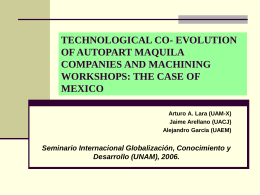 JOINT TECHNOLOGICAL CO- EVOLUTION OF AUTOPART …