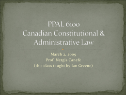 Canadian Constitutional & Administrative Law