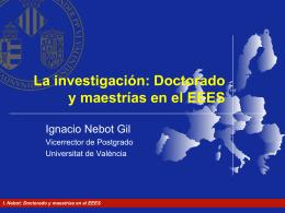 El doctorado en el EEES - Prof Dr Alberto Romero Ania