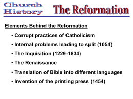 Church History – 6 The Reformation