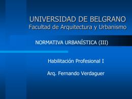 UNIVERSIDAD DE BELGRANO Facultad de Arquitectura y …