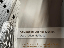 Advanced Digital Design - Vienna University of Technology