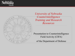 Capabilities in Counter Intelligence Training