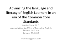 Advancing the language and literacy of English Learners in
