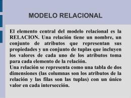 MODELO RELACIONAL - Profesora Yadira Karina …