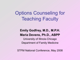 Options Counseling for Teaching Faculty