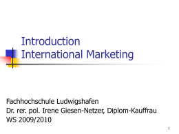 Introduction International Marketing