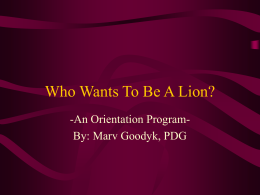 Who Wants To Be A Million Dollar Lion?